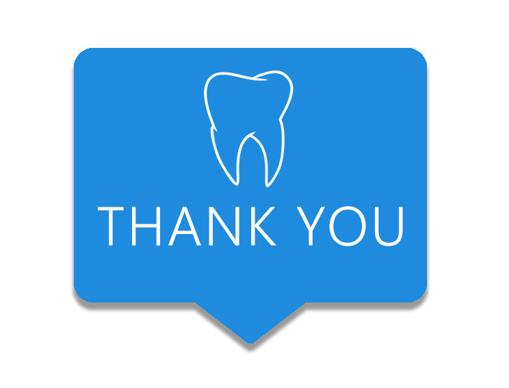 Blue rectangle with white illustration of a single tooth and the words THANK YOU in capital letters